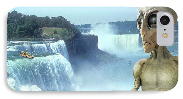 Alien Vacation - Niagara Falls IPhone Case by Mike McGlothlen