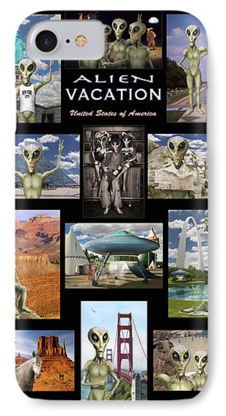 Alien Vacation - Poster Phone Case by Mike McGlothlen