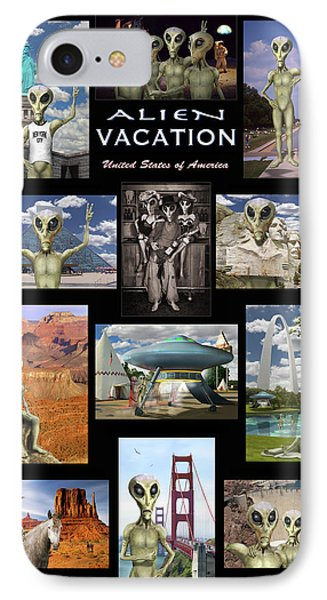 Alien Vacation - Poster IPhone Case by Mike McGlothlen