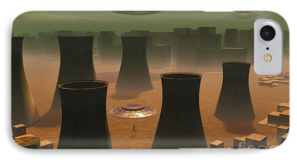 Aliens Visiting A Nuclear Power Station IPhone Case by Mark Stevenson