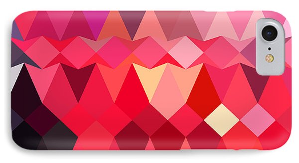 Alizarin Crimson Abstract Low Polygon Background IPhone Case by Aloysius Patrimonio