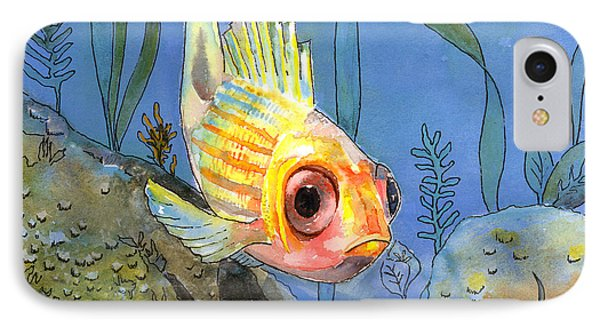 All Alone - Squirrel Fish Phone Case by Arline Wagner