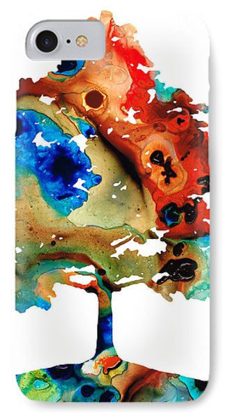 All Seasons Tree 3 - Colorful Landscape Print Phone Case by Sharon Cummings