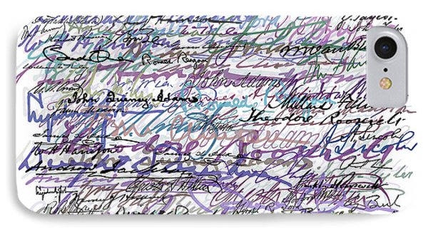 All The Presidents Signatures Blue Rose Phone Case by Tony Rubino