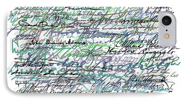 All The Presidents Signatures Teal Blue Phone Case by Tony Rubino