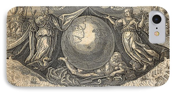 Allegory Of West Indies Or Americas, With Portraits Of Navigators Columbus And Vespucci IPhone Case by Theodore de Bry