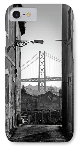 Alley And Bridge Over Tagus, Lisbon IPhone Case