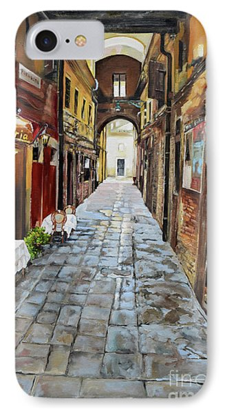 IPhone Case featuring the painting Alley On Parangon In Venice by Jan Dappen