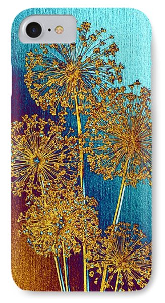 IPhone Case featuring the mixed media Alluring Allium Abstract 2 by Will Borden