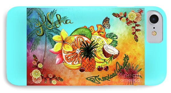 IPhone Case featuring the digital art Aloha Tropical Fruits By Kaye Menner by Kaye Menner