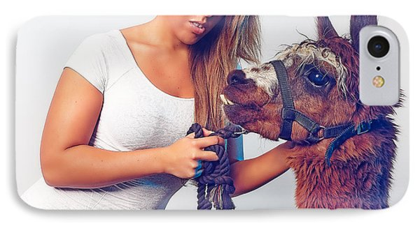 Alpaca Mr. Tex And Breanna IPhone Case by TC Morgan