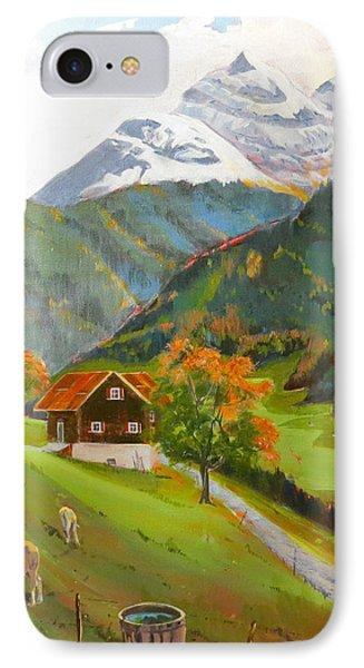 Alpine Farm Near Buerglen In Canton Uri IPhone Case by David Gilmore