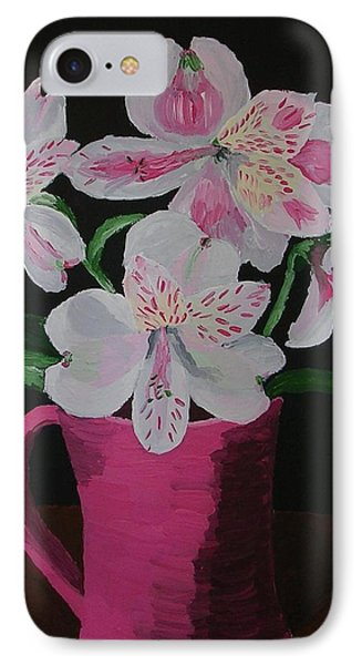 IPhone Case featuring the painting Alstroemeria In Mug by Joshua Redman
