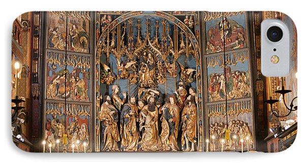 Altarpiece By Wit Stwosz In St. Mary's Basilica In Krakow IPhone Case by Artur Bogacki