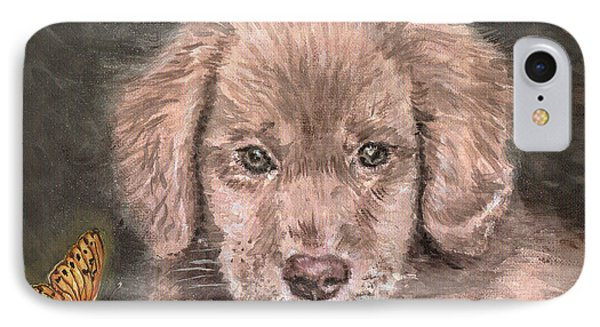 Irish Setter Puppy Dog And Orange Butterfly Phone Case by Remy Francis