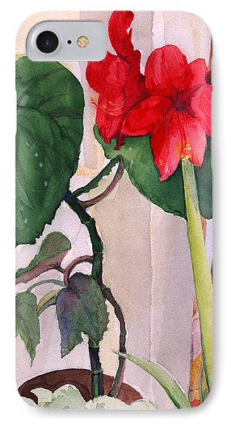 Amaryllis And Begonia IPhone Case by Nancy Watson