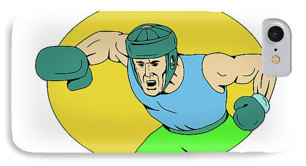 Amateur Boxer Knockout Punch Drawing IPhone Case