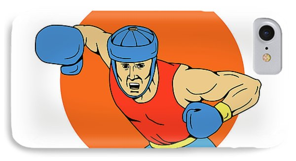 Amateur Boxer Overhead Punch Circle Drawing IPhone Case