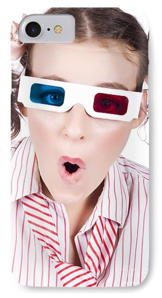 Amazed Woman Watching 3d Movie In Glasses IPhone Case