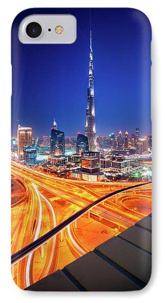 Amazing Night Dubai Downtown Skyline, Dubai, United Arab Emirates IPhone Case