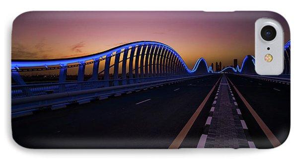 Amazing Night Dubai Vip Bridge With Beautiful Sunset. Private Ro IPhone Case