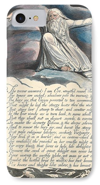 America A Prophecy, Plate 10,  IPhone Case by William Blake