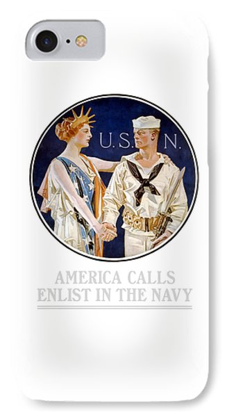 America Calls Enlist In The Navy Phone Case by War Is Hell Store