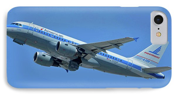 IPhone Case featuring the photograph American Airbus A319-0112 N744p Piedmont Pacemaker Los Angeles International Airport May 3 20 by Brian Lockett