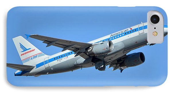 American Airbus A319-0112 N744p Retro Piedmont Pacemaker Phoenix Sky Harbor January 21 2016 Phone Case by Brian Lockett