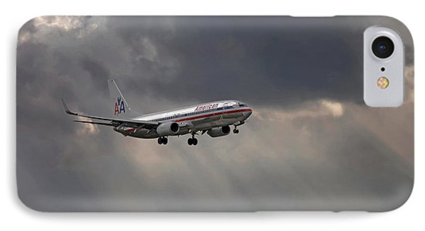 American Aircraft Landing After The Rain. Miami. Fl. Usa IPhone Case