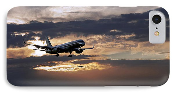 American Aircraft Landing At The Twilight. Miami. Fl. Usa IPhone Case by Juan Carlos Ferro Duque