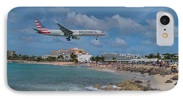 American Airlines Landing At St. Maarten Airport IPhone Case by David Gleeson