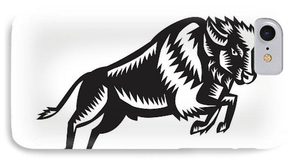 American Bison Buffalo Jumping Woodcut IPhone Case