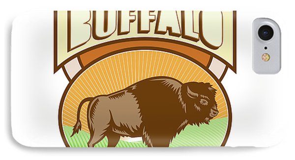American Bison Buffalo Oval Woodcut IPhone Case