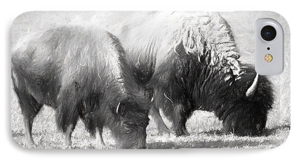 American Bison In Charcoal IPhone Case