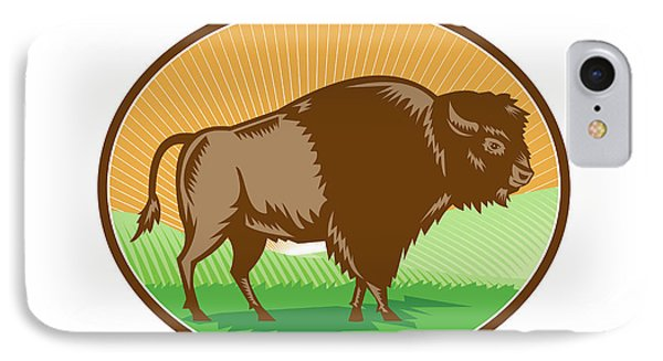American Bison Oval Woodcut IPhone Case
