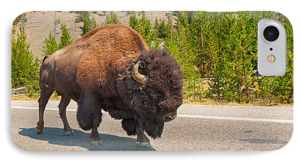 IPhone Case featuring the photograph American Bison Sharing The Road In Yellowstone by John M Bailey