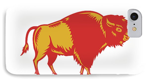 American Bison Side Woodcut IPhone Case