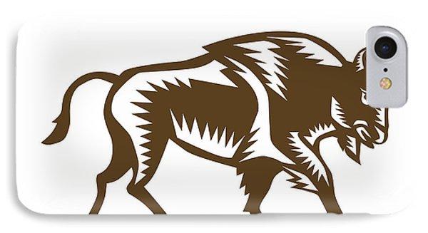 American Bison Woodcut IPhone Case by Aloysius Patrimonio