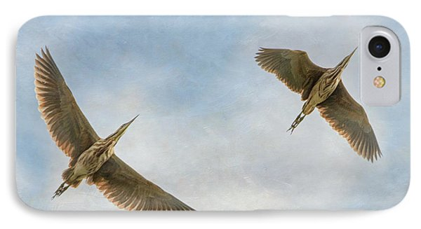 IPhone Case featuring the photograph American Bitterns In Flight by Angie Vogel