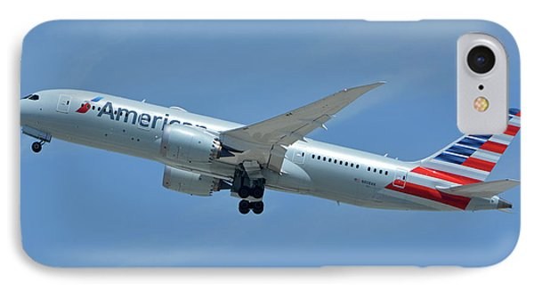 IPhone Case featuring the photograph American Boeing 787-8 N808an Los Angeles International Airport May 3 2016 by Brian Lockett