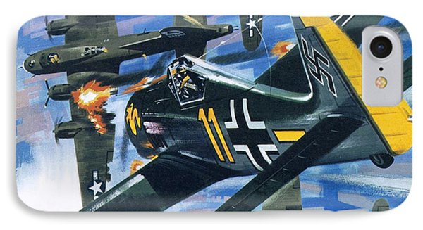 American Bombing Raid Over Europe In July 1943 IPhone Case by Wilf Hardy