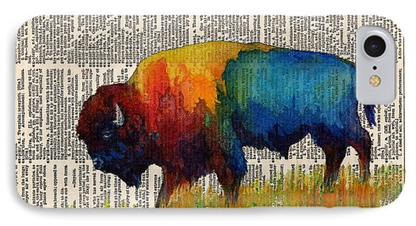 Bison iPhone 7 Case - American Buffalo IIi On Vintage Dictionary by Hailey E Herrera