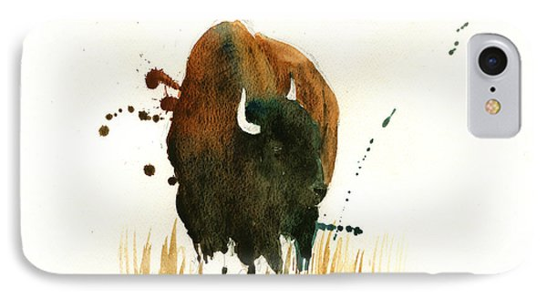 American Buffalo Painting IPhone Case by Juan  Bosco