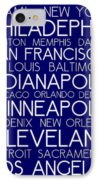 American Cities In Bus Roll Destination Map Style Poster - Blue IPhone Case by Celestial Images