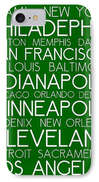 American Cities In Bus Roll Destination Map Style Poster - Green  IPhone Case by Celestial Images