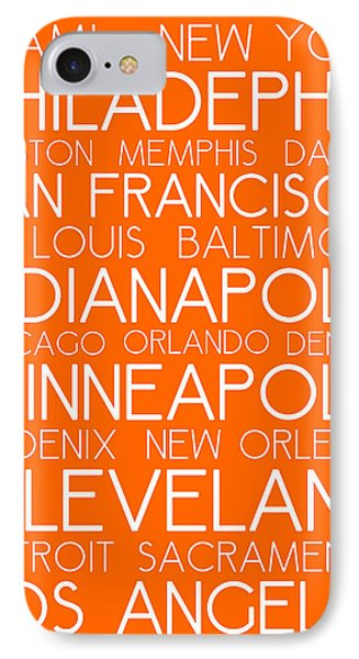 American Cities In Bus Roll Destination Map Style Poster - Orange IPhone Case by Celestial Images