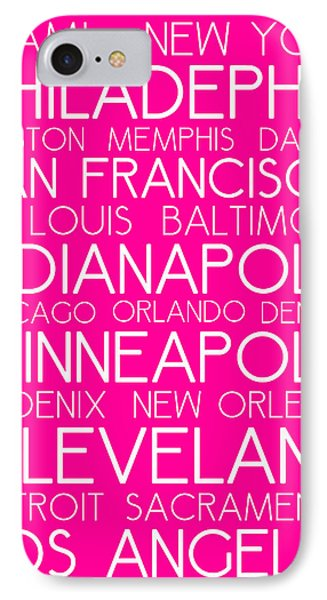 American Cities In Bus Roll Destination Map Style Poster - Pink IPhone Case by Celestial Images