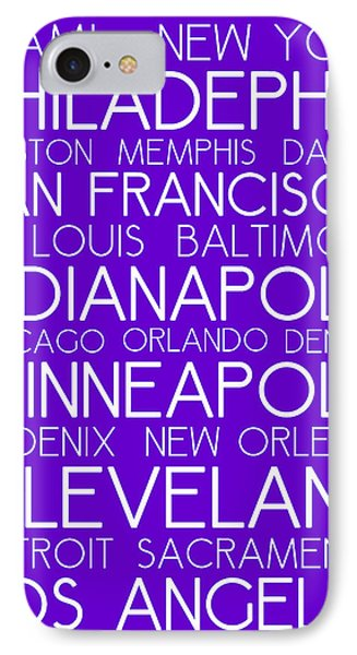 American Cities In Bus Roll Destination Map Style Poster - Purple IPhone Case by Celestial Images