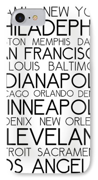 American Cities In Bus Roll Destination Map Style Poster - White IPhone Case by Celestial Images